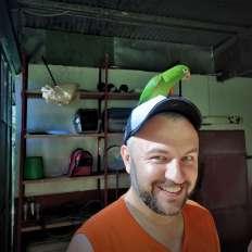 Parakeet on Justin's head
