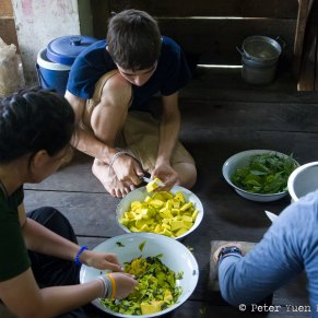Volunteers Cooking with Their Hosts in Thailand