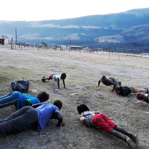 Kids doing pushups