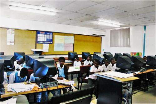 Students in South Africa working with computers