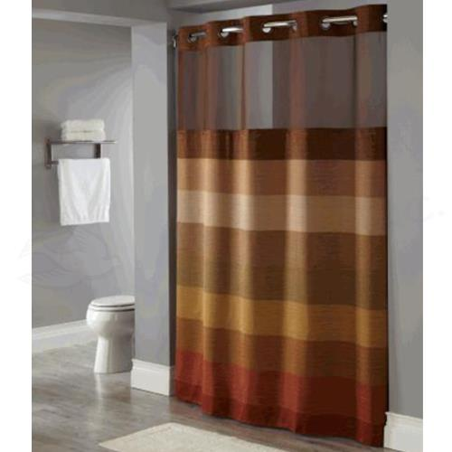 hookless shower curtain with bronze wood grain jackquard weave