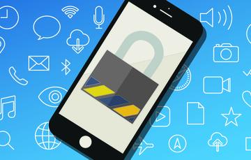 Ilustración de un teléfono celular con la imagen de un candado en la pantalla.