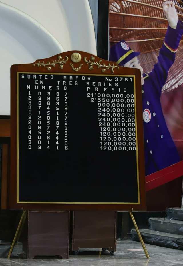 fotografía de la pizarra de resultados principales del sorteo mayor 3781