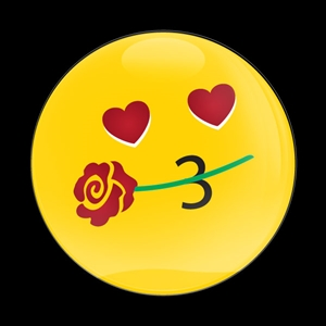 Dome BadgeEmoji Kissing Heart with Flower