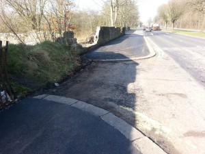 Broompark Farm exit without dropped curbs