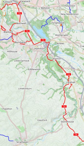 South Lanarkshire towns on NCN74