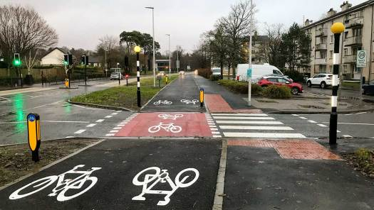 Combined crossing on West Mains Rd, East Kilbride
