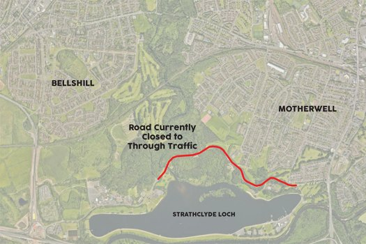 Strathclyde Park Spine Road closed to through traffic