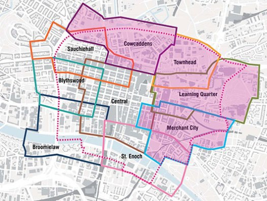 Map of (Y)our City Centre Districts with current phase highlighted (Cowcaddens, Townhead, 'Learning Quarter and Merchant City)