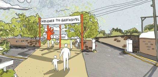 Illustration of proposed change to Gartnavel's north entrance gate
