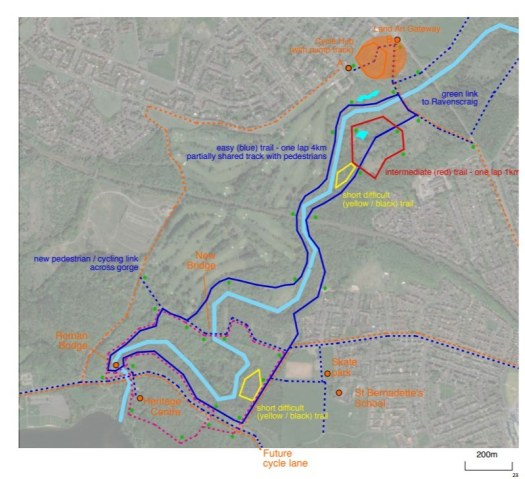 Map of proposed mountain bike trails around South Calder Water