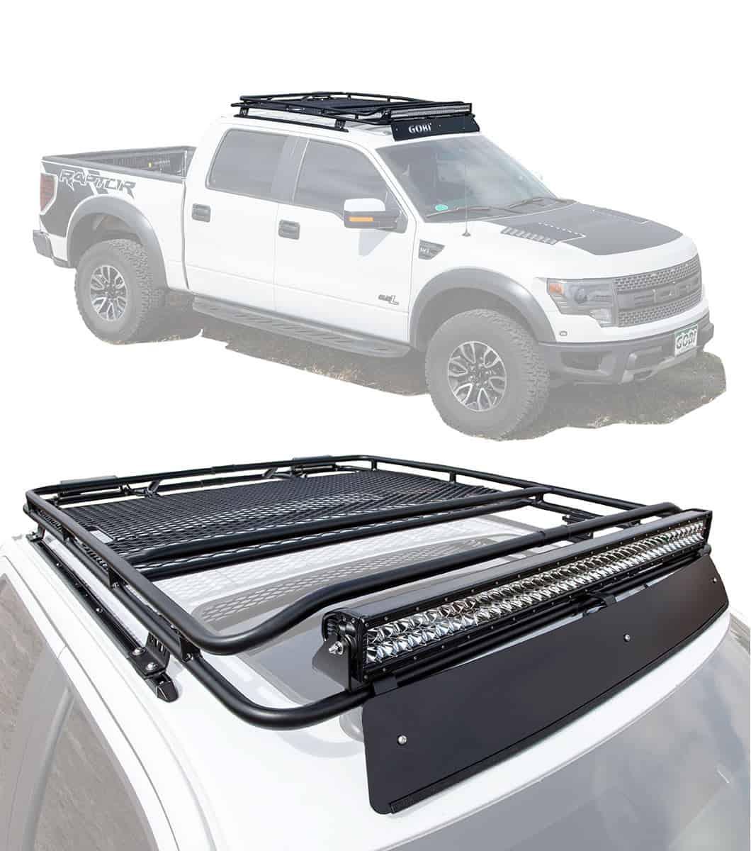 ford f 150 raptor 12th gen stealth rack lightbar setup with sunroof