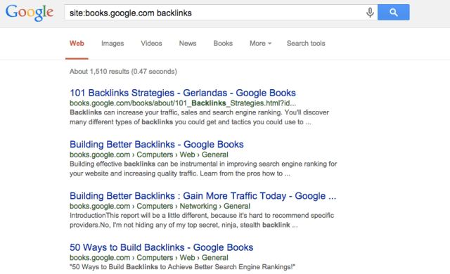 Google books backlinks