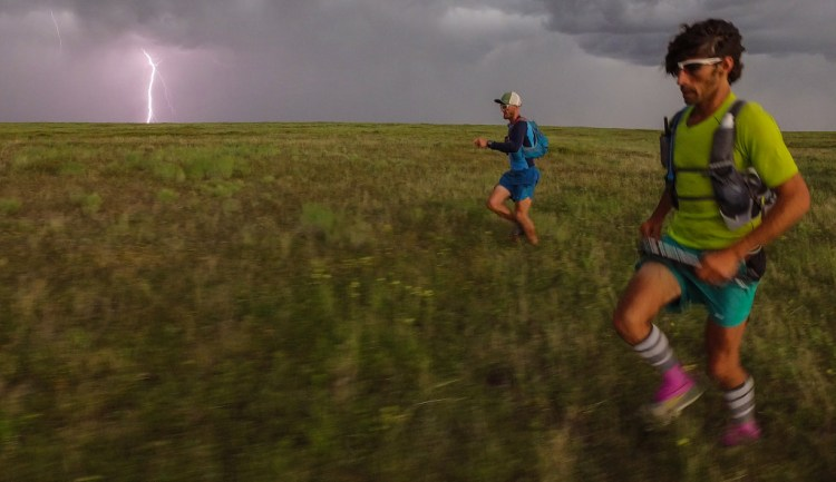 Jesse and I hope to outrun the storm on day 3 of our Owyhee Canyonlands adventure. Photo by Jonathan Byers.