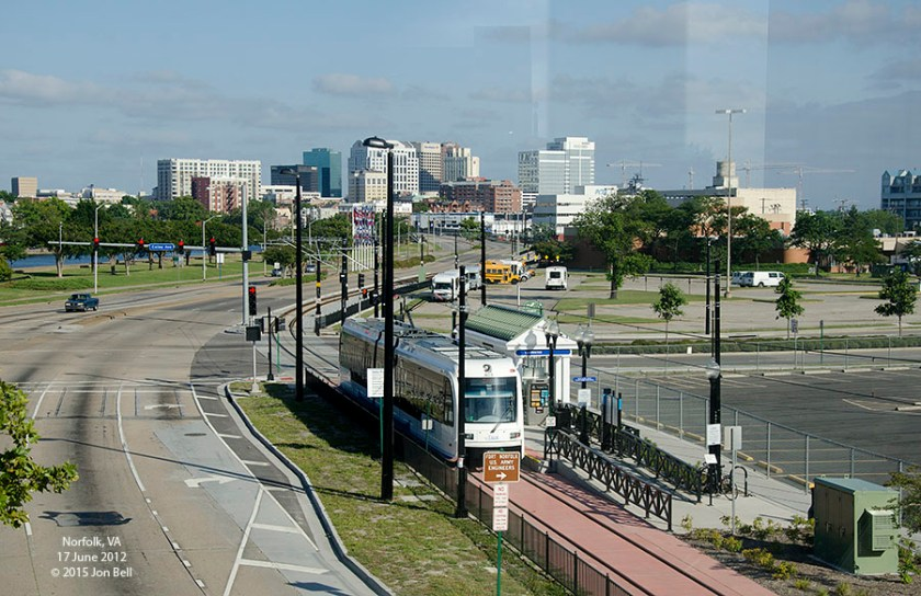 The Tide Light Rail, Norfolk VA. View looking south-east from the EVMC/Fort-Norfolk Station