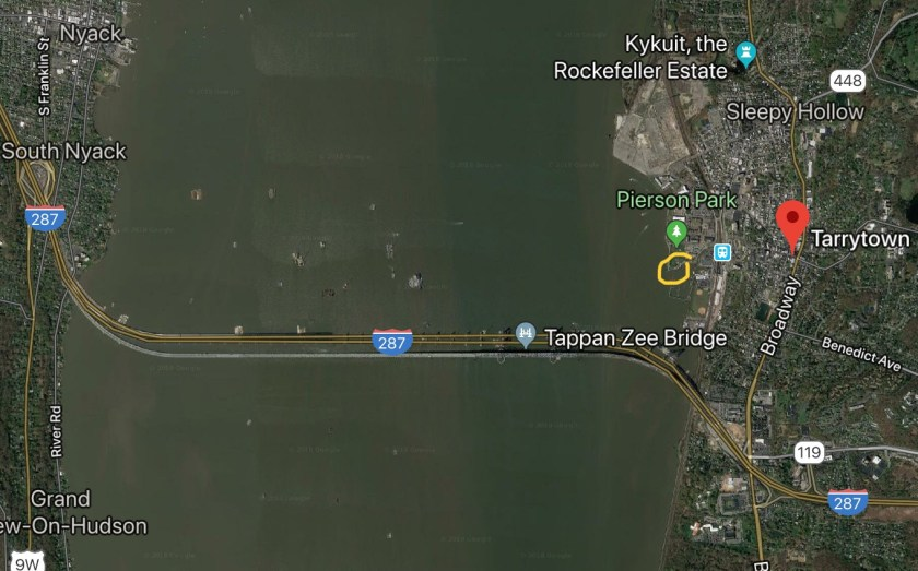 Satellite image of Tappan Zee Bridge , New York