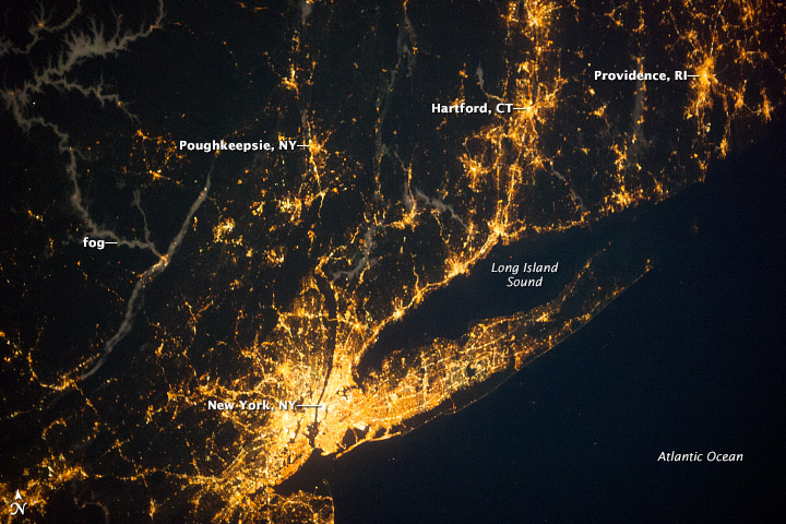 Satellite image of New York Metro region at night