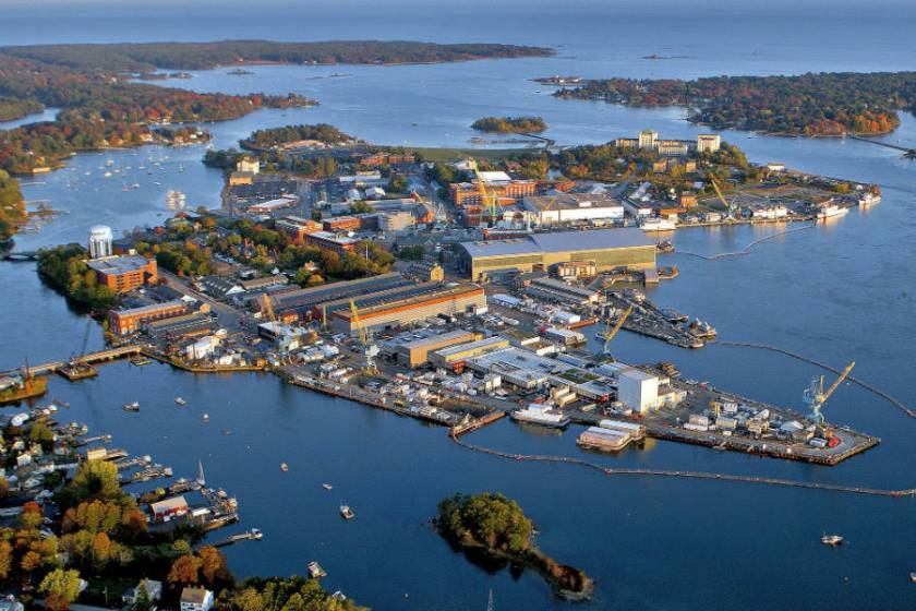 Aerial photo of Portsmouth Naval Shipyard, Maine