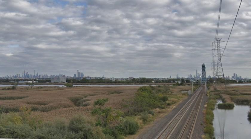 Photo of NJ Meadowlands where I-95 crosses NJ Transit Rail line