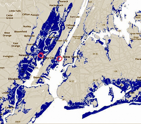 Map showing areas of NYC and NJ flooded by Sandy