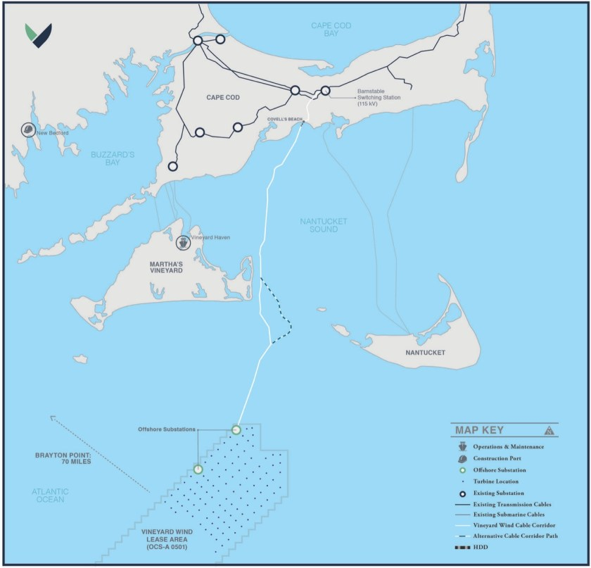 Map showing offshore Vineyard Wind lease area