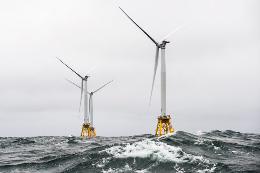 Photo of Block Island wind turbines in heavy seas
