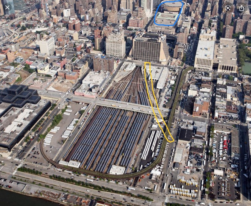 Aerial view of Hudson Rail Yards, NYC c2010