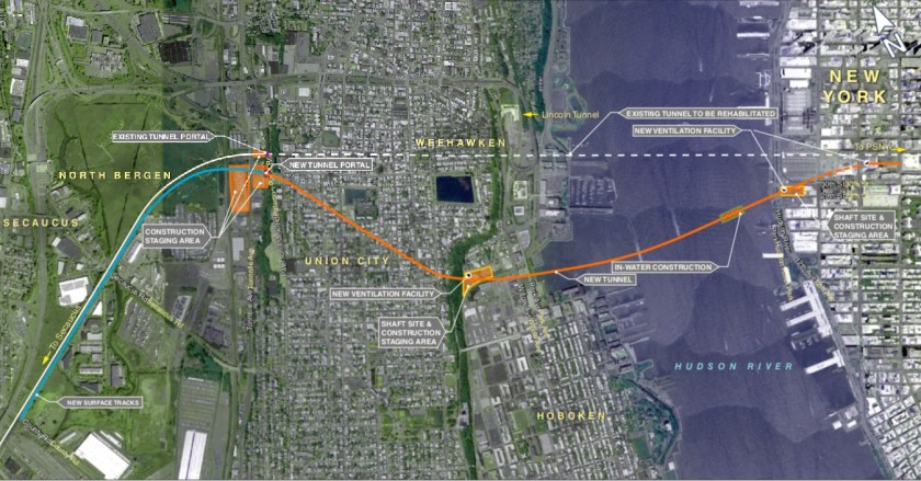 Map of proposed alignment of new Hudson River Rail Tunnel