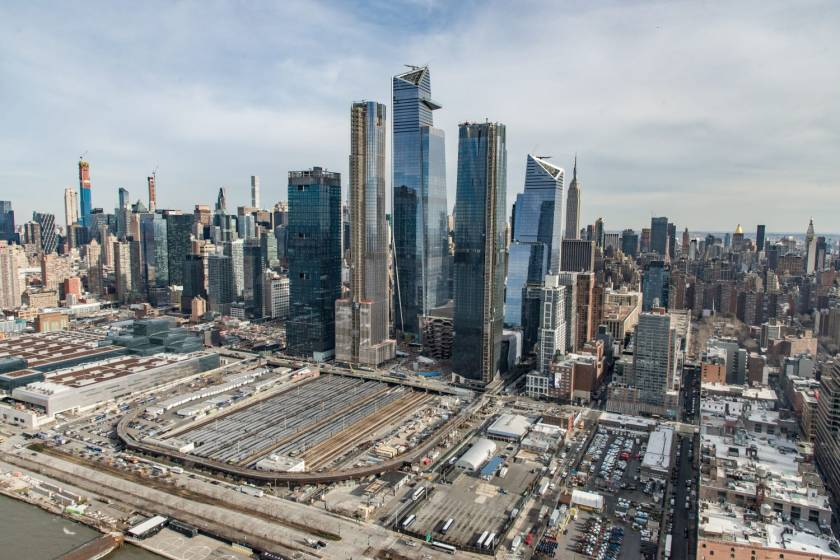 Aerial photo of Hudson Yards real estate development, phase one, opened March 2019