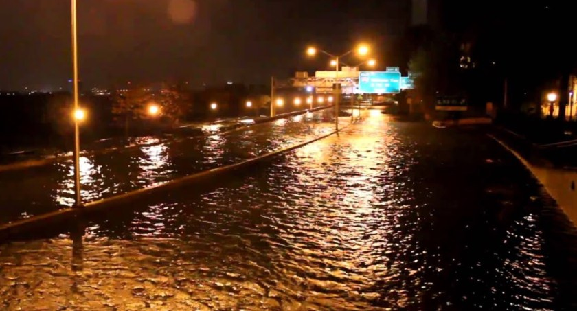 FDR Drive at East 53rd St. Manhattan, flooded during Hurricane Sandy