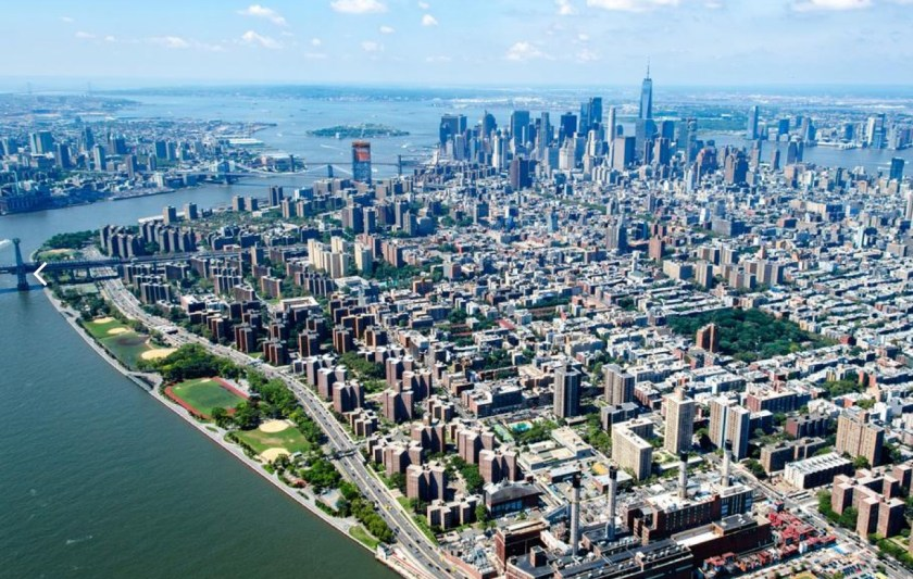 Aerial photo of East River Park and Lower Manhattan