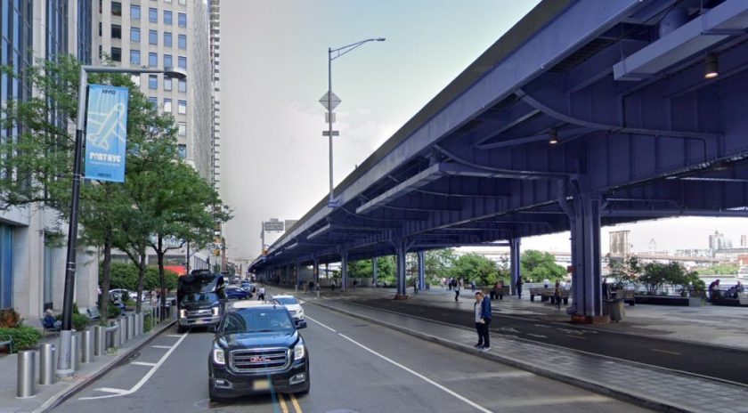 South St. and elevated section of FDR Dr. NYC Financial District.