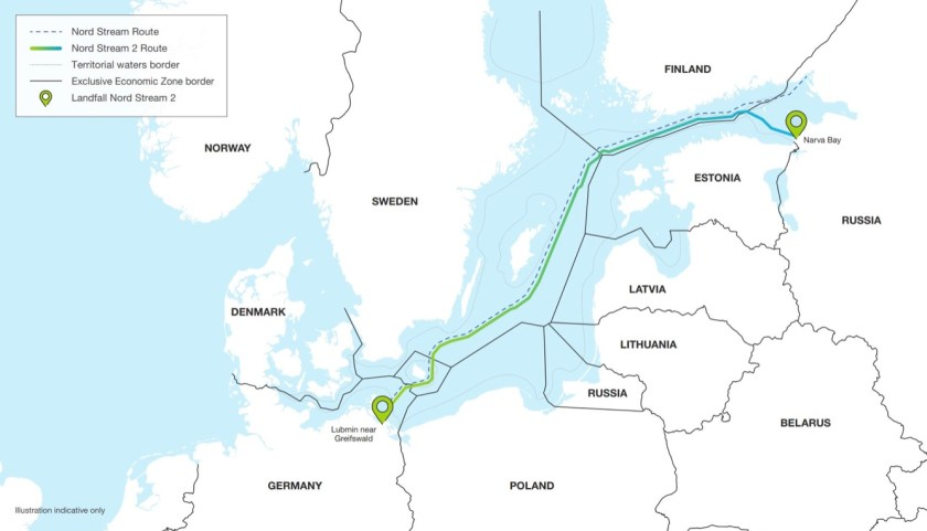 Map showing route of Nord Stream 2 pipeline joining Russia to Germany via Baltic Sea