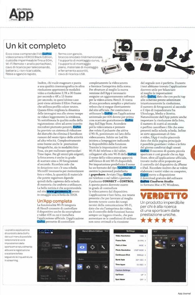 GoPro HERO 3 Black e GoCamera.it su AppJournal di giugno