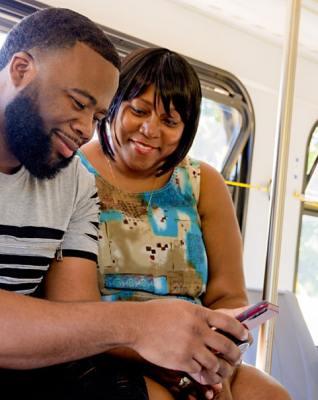 couple on a bus