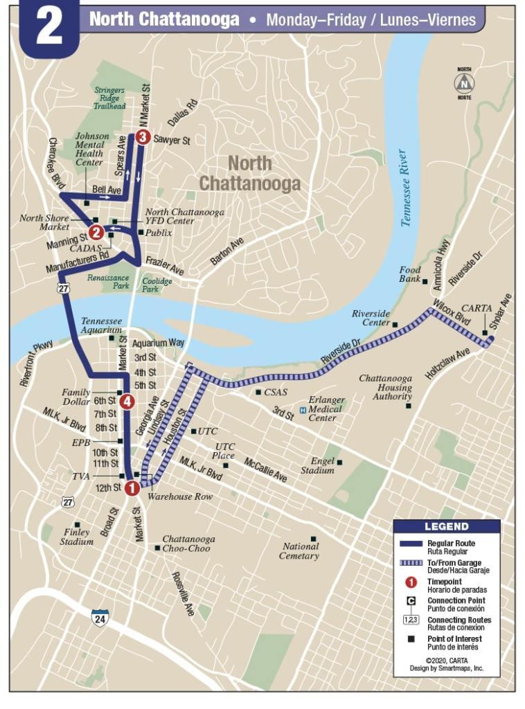 Rt 2 N. Chattanooga map