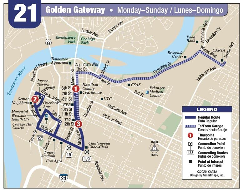 Rt 21 Golden Gateway map