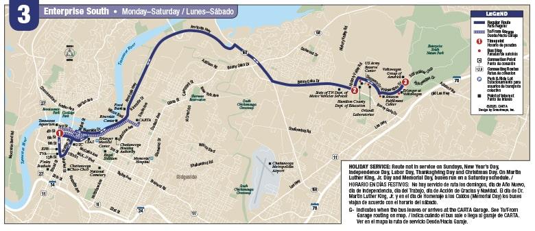 Route 3, Enterprise South map