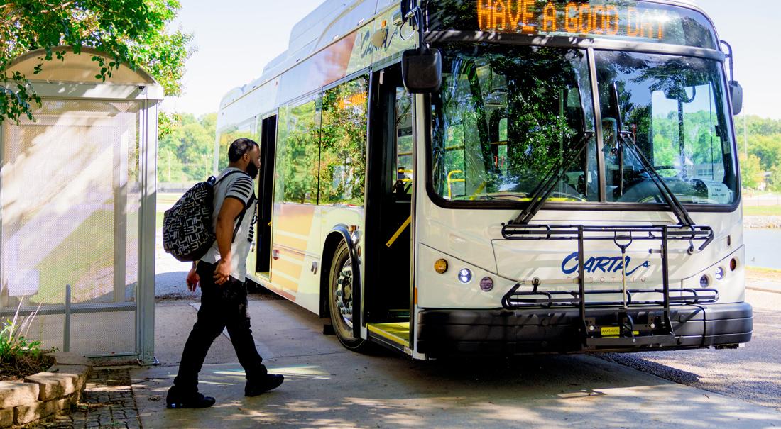 Man boarding a CARTA bus
