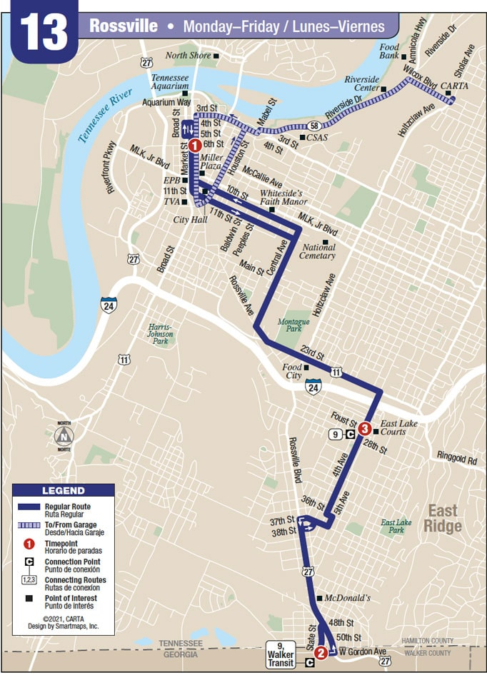 Route 13 map