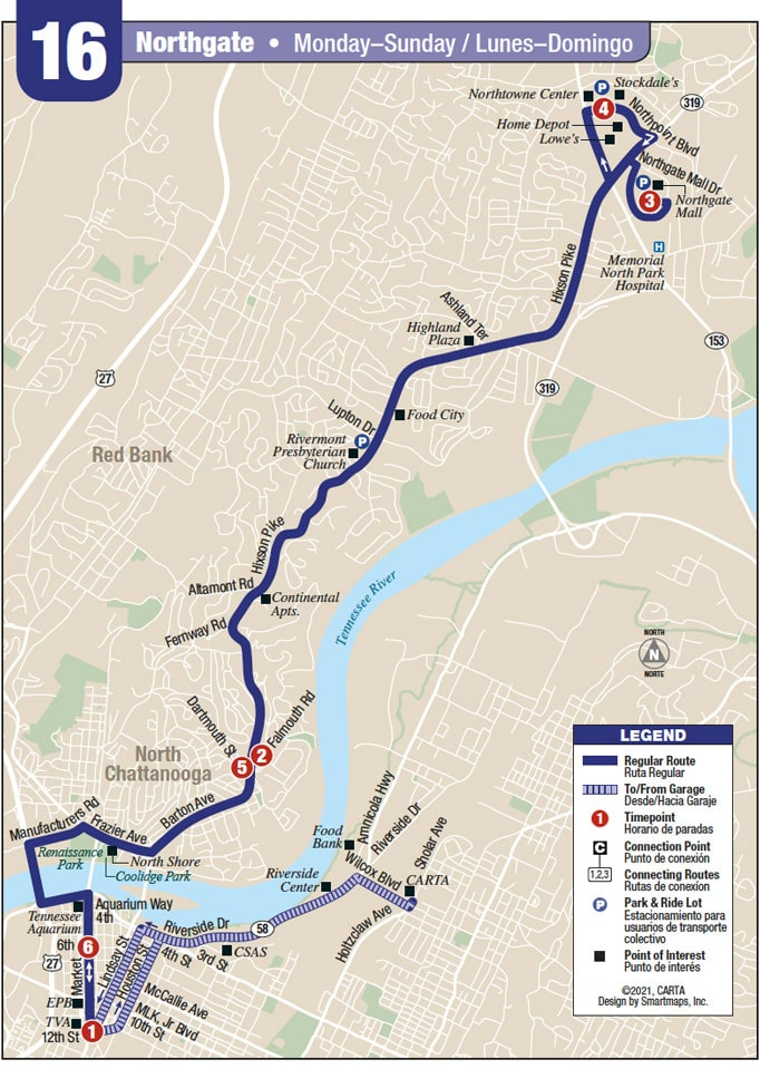 Route 16 map