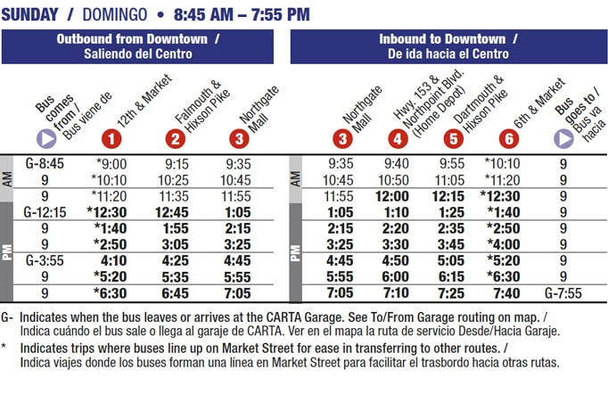 Route 16 timetable