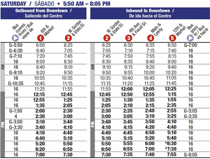 Route 9 timetable