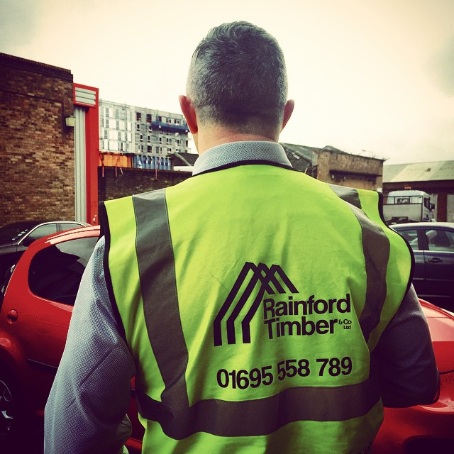 Another satisfied customer: Jay adorns his Hi Vis vest printed with Rainford Timber logo
