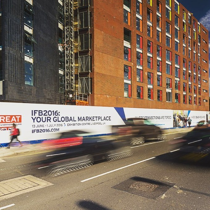 Hoarding graphics promoting #ifb2016 printed and installed by GoCre8