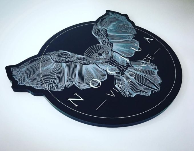 White ink print direct to laser cut 10mm Black #perspex for @noctuaviplounge