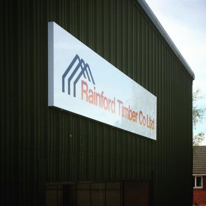 5m wide Sign Tray for Rainford Timber's new premises