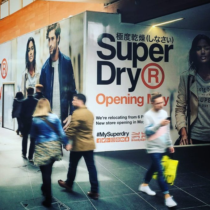 Vinyl graphics for @superdryglobal hoardings @liverpool_oneofficial #mysuperdry