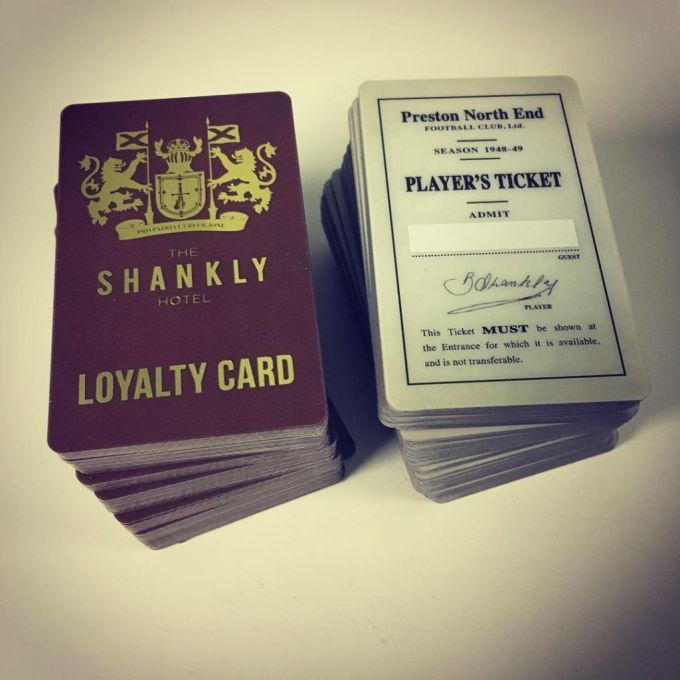 Plastic loyalty cards with gold foil for @shanklyhotel