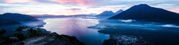 Sunrise Over Lake Atitlan Panorama